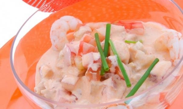 Prawn cocktail with pink sauce