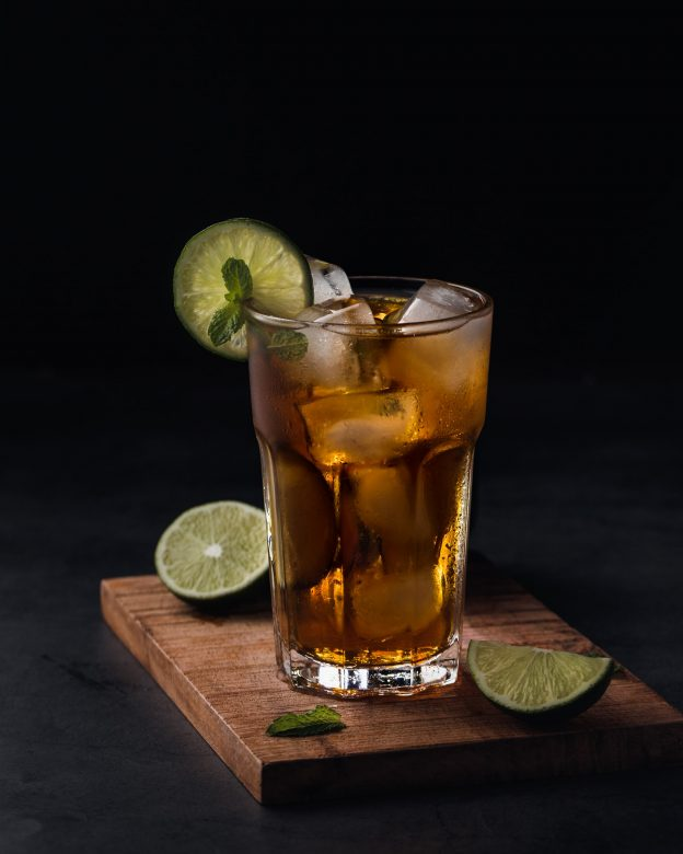 cold coffee with lime cocktail